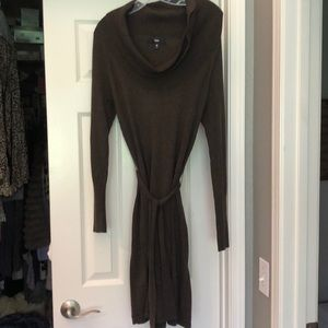 Cowl-necked sweater dress